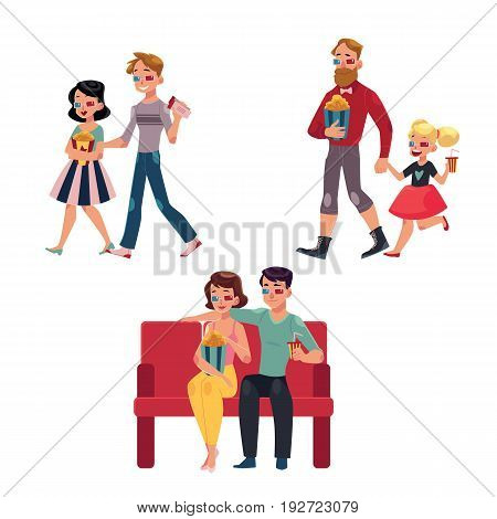 People go to cinema, movie theatre with popcorn, drinks, 3d glasses, cartoon vector illustration isolated on a white background. Couples, friends, father and daughter in 3d glasses go to cinema, movie