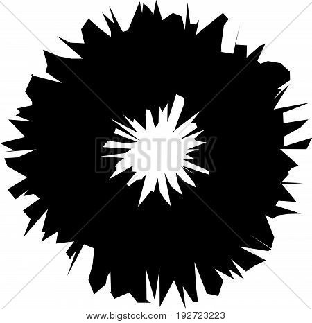 Radial Geometric Element Series. Abstract Black And White Shape In Concentric, Circular Style. Desig