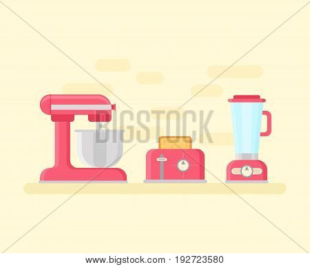 Retro kitchen devices in flat style. Vintage utensils: planet mixer, toaster, blender icons in pastel colors