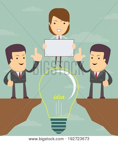 Cartoon working people cross the abyss. Doodle cute miniature scene of team on the bridge like lamp idea. Vector illustration for business design and infographic