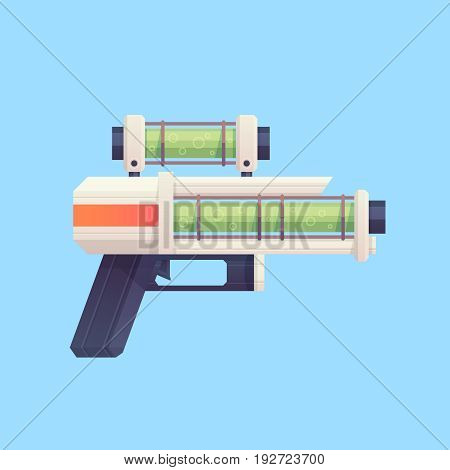 Flat cartoon sci-fi gun blaster with acid liquid. Great for mobile games, app and web design, kids toys, clothes, apparel.