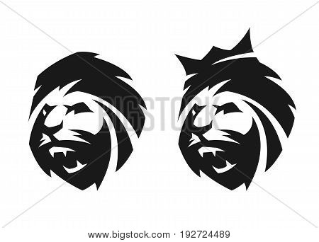 The head of a lion, with a crown and without, two options. Monochrome logo.
