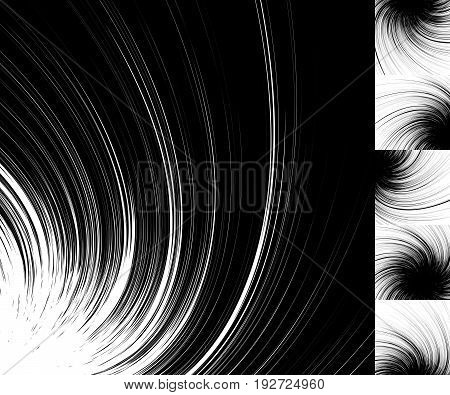Black And White Abstract Spiral. Gratis 5 Variants In Inverse Color