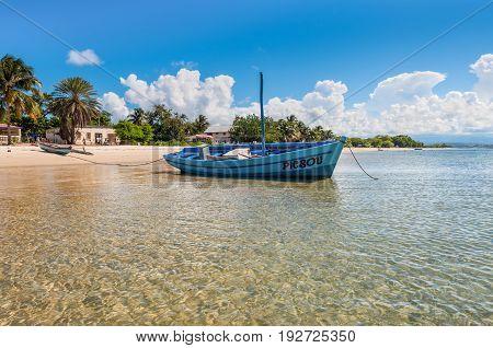 Ramena Madagascar - December 20 2015: Malagasy sail boat on the sea coast in a fishing village of Ramena Madagascar.