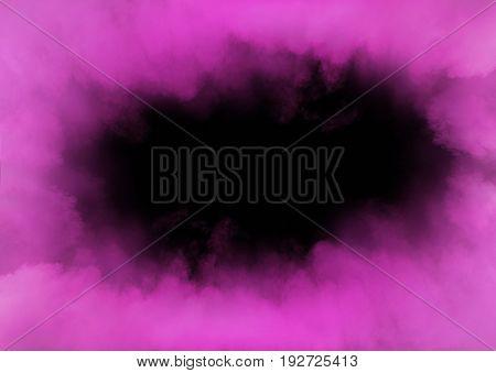 Purple fume swirling in the grungy, dark interior