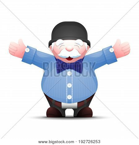 Happy senior man is standing with arms outstretched on white background. Cartoon gentleman in bowler hat and bow tie. Isolated vector illustration.