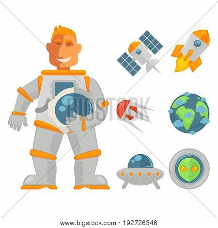 Smiling astronaut holding helmet stands near space objects isolated on white. Vector illustration in flat design of male cosmonaut, flying rockets, earth sign, green alien head and spy satellite.