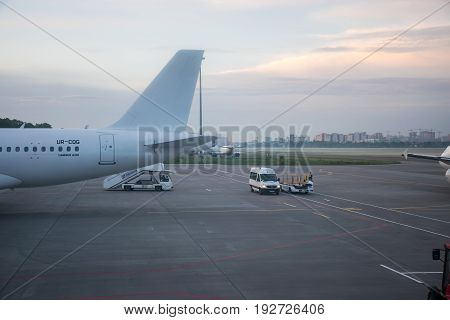 Ukraine, Kiev, Zhulyany Airport - May 27/2017: The Operating Personnel Are Preparing Aircraft Before