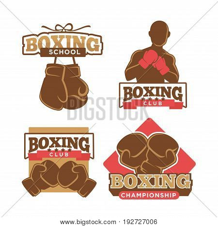 Boxing colorful logo labels collection of four isolated on white. Vector poster in flat design of sporty school badges with boxing gloves or training man silhouette. Healthy lifestyle concept