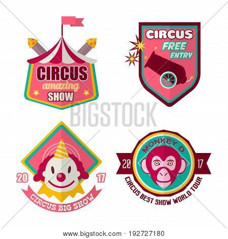 Circus logo labels in colors isolated on white. Vector colorful poster in flat design of badges inviting to visit best entertaining show with free entry, many smart exotic animals and clowns