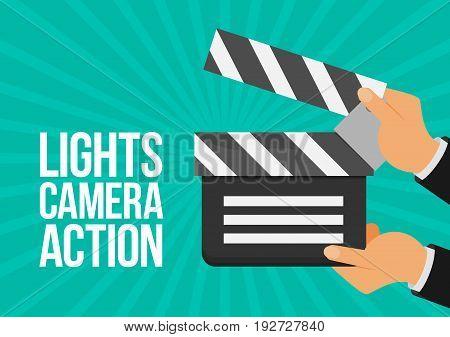 cinema lights camera action flat vector background