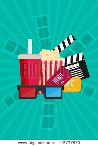 Movie poster template. Popcorn soda takeaway 3d cinema glasses and tickets. Cinema design in flat style