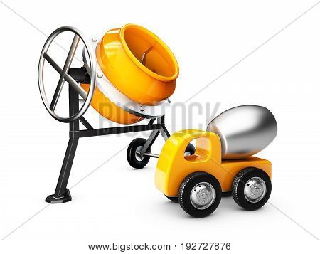 Yellow Concrete Mixer And Mixer Truck, Isolated White, 3D Illustration