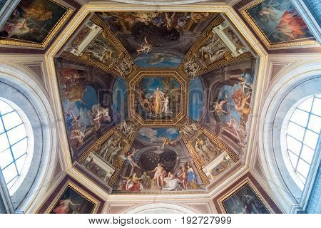 Vatican City 17 May 2017 : Interior ceiling of Vatican Museum they displays some of the most renowned classical sculptures and most important masterpieces of Renaissance art in the world.