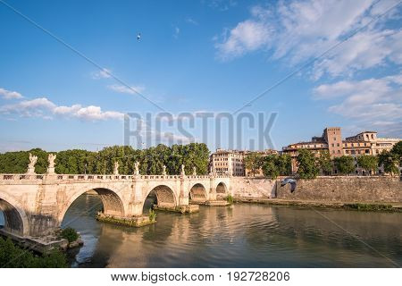 Rome Italy. 17 May 2017 : View of Castel Sant'Angelo or Mausoleum of Hadrian on Sant'Angelo bridge along Tiber River.