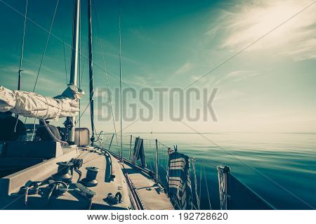 Yachting yacht sailboat sailing in baltic sea summer vacation. Tourism luxury lifestyle.
