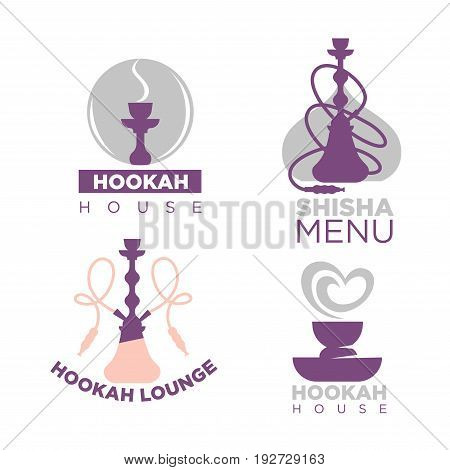 Hookah house logotypes colorful collection with special equipment for smoking with long pipes. Vector illustration in flat design of graphic badges for establishment for men relaxation who smoke.