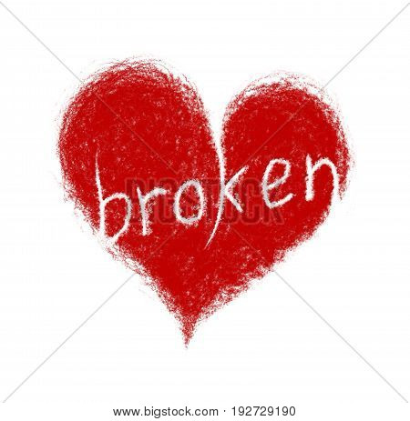 Heart with text Broken isolated on white background