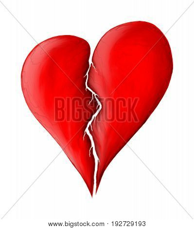 Red broken heart isolated on white background