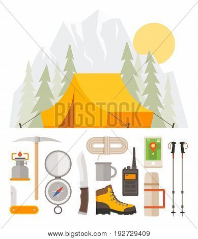 Hiking tourism. Camping. Outfit of traveler: tent in the woods, compass, thermos, knife, GPS, shoes, trekking sticks. Base camp gear and accessories.