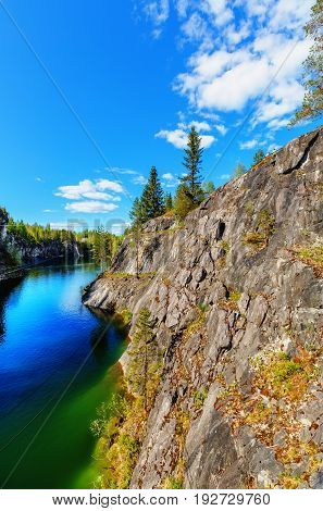 Marble quarry in Ruskeala Park in Republic of Karelia (Russia)