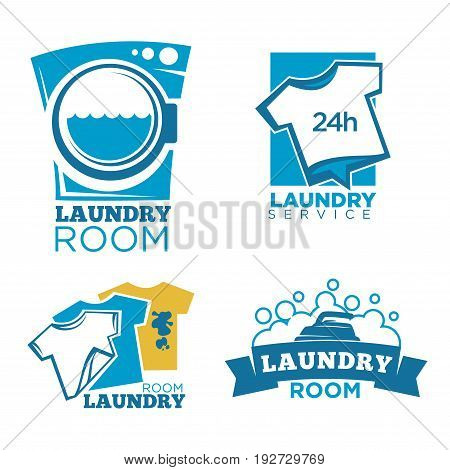 Laundry room service logotypes collection with washing machine, working iron and t-shirts. Vector illustration in flat design of badges presenting company that makes human clothes clean and ironed