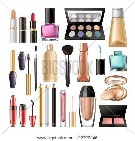 Decorative cosmetics realistic vector illustrations set. Eyeshadows palette, foundations creams, bright lipsticks and glosses, dark mascaras, shiny nail polishes, thin eyeliners and pinky blushes.