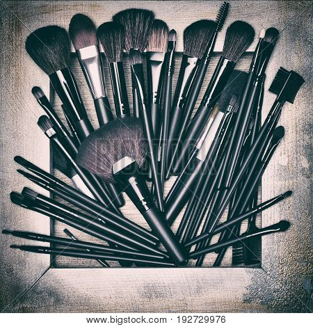 Set of various makeup brushes. Professional tools of make up artist in shabby wooden frame. Toned image