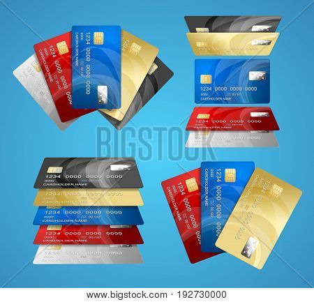 Realistic Credit Plastic Card Set on a Blue Background Banking Finance Currency Concept Electronic Shopping. Vector illustration