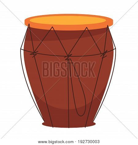 National African tom-tom drum made of wood, orange fabric top and lace isolated flat cartoon vector illustration on white background. Portable percussion instrument for folk music creation.
