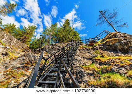 Stairway in marble quarry in Ruskeala Park (Republic of Karelia, Russia)