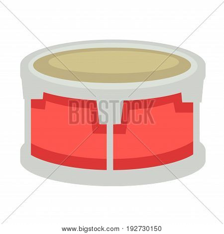 Small drum with red and silver metal corpus and beige fabric top isolated cartoon vector illustration on white background. Percussion instrument for saturation songs and melodies with deep sounds.