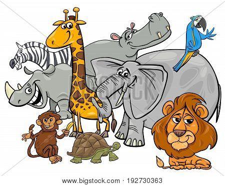 Cartoon Safari Animal Characters Group