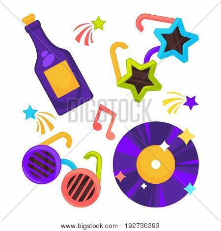 Bright disco set of funny glasses with stripes and in form of stars, vinyl record and purple wine bottle surrounded with colorful notes and stars isolated vector illustrations on white background.