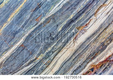Natural blue-gray marble texture with diagonal lines