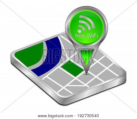 map pointer with green free WiFi Symbol - 3D illustration