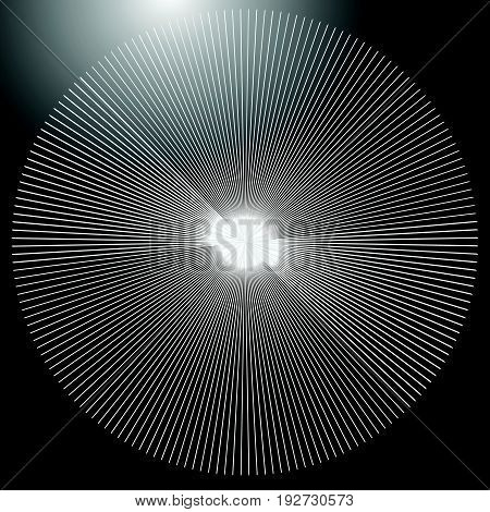 Radial Lines Element. Abstract Geometric Illustration. Radiating, Bursting Line Circular Pattern