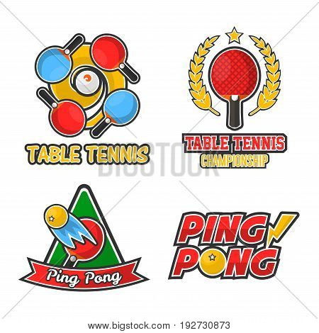 Ping pong championship isolated colorful logotypes set. Table tennis sport club emblems with rackets, small balls, laurel branches and big signs isolated vector illustrations on white background.