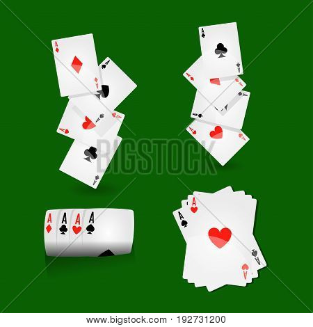 Play cards combinations with aces on green field vector illustration. Winning cards set lain in row, one on another and in random position. Entertainment with money bets and bluff skill using.