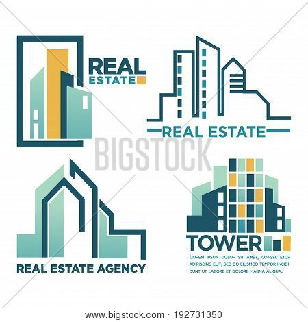 Real estate agency Tower emblem with skyscrapers outline and abstract vector illustrations. Promotional logotype of realty selling firm with tall downtown buildings that have lot of wide windows.