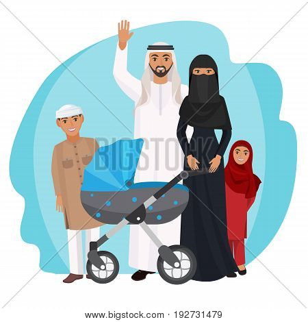 Friendly Arabic family stands together. Husband in white robe waves hand, woman in black dress and abaya, little children and baby cart vector illustration