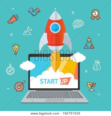 Success Start Up Concept Space Ship Rocket and Gadget Device Technology Element Business. Vector illustration