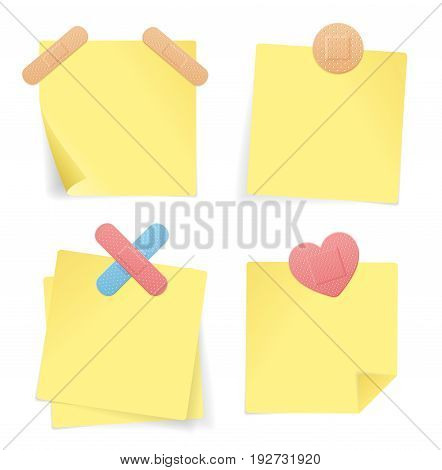 Yellow Stick Note Paper Set and Plaster Strip Patch Isolated on White Background. Vector illustration