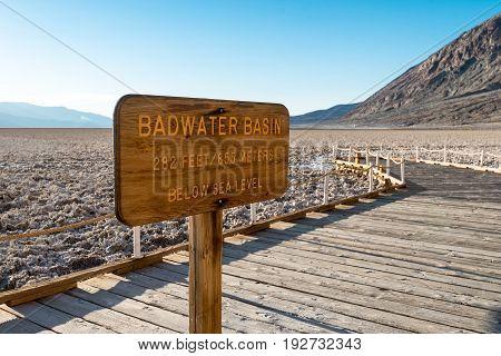 Sign At Badwater Basin