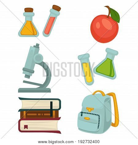 Chemistry specialized students belongings isolated vector illustrations set. Flasks with colorful toxic substances, ripe red apple, powerful microscope, pile of textbooks and compact backpack.