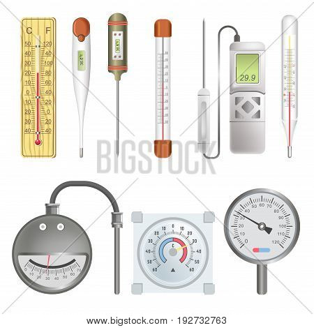 Thermometers for atmosphere, heating mechanisms and human body made of wood and metal, electronic one, covered with glass and with round scale isolated vector illustrations set on white background.
