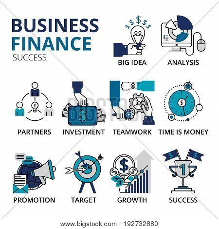 Creative vector illustration with a lot of business icons. Vector illustration business and finance success icons in modern flat line style. Can be used for web graphic design and brochure.