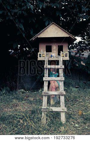 Wooden Joss house in southeast asia.Horror scene.