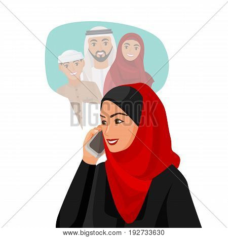 Muslim woman in red hijab talking over phone with family in special cloud of mother, husband and son isolated on white vector poster