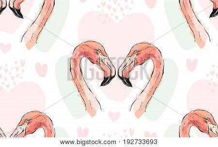 Hand drawn vector abstract tropical romantic seamless pattern with couple of two pink flamingos isolated on white background